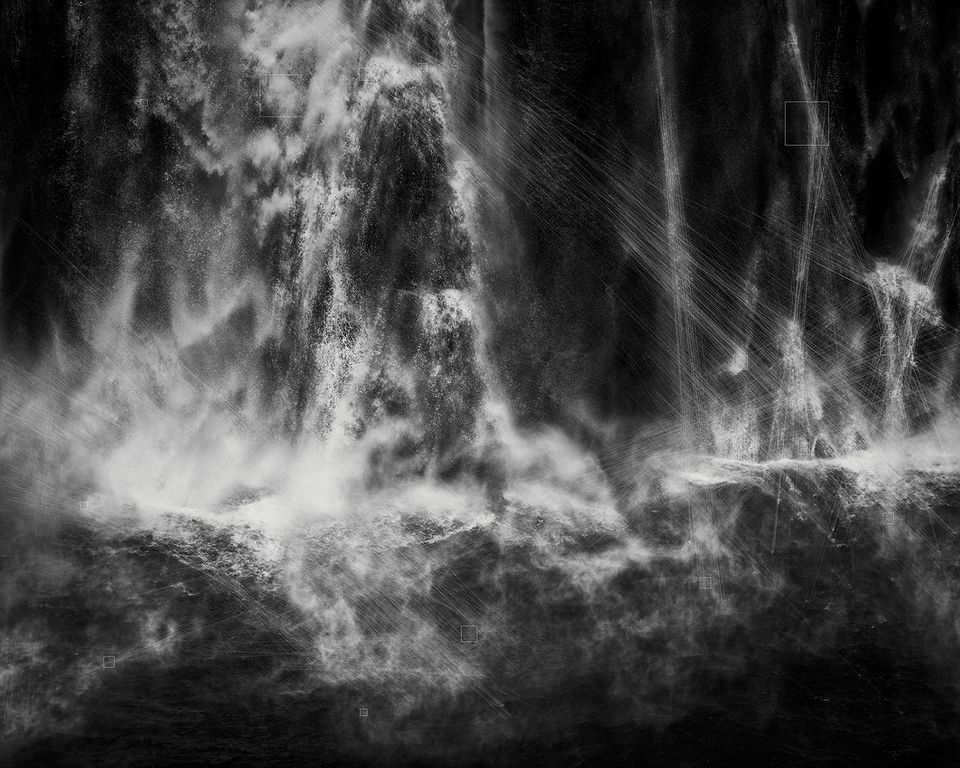 Trevor Paglen, Shoshone Falls, Hough Transform; Haar, 2017, silver gelatin print. Collection of Rory and John Maxon Ackerly.