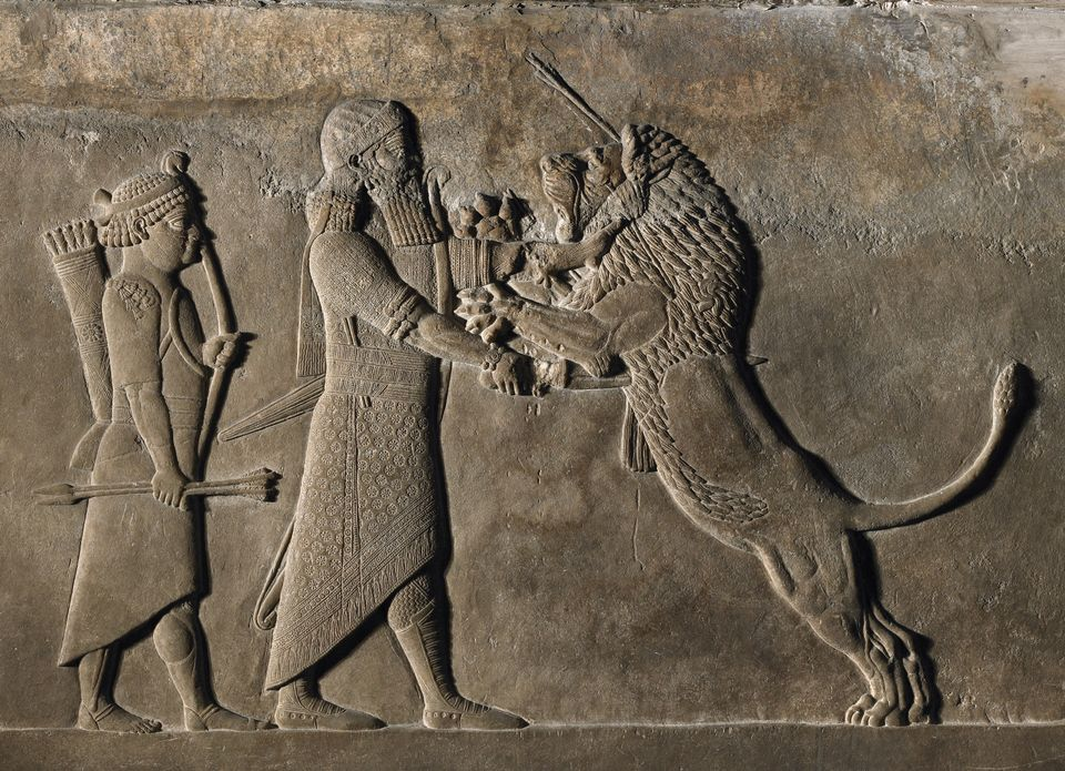 A relief showing combat with a lion , Nineveh (645-635BC)