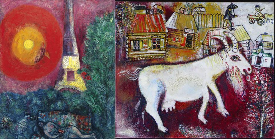Marc Chagall's Eiffel Tower (1929) will hang next to his Memories of Childhood (1924) in the National Gallery of Canada's European paintings galleries
