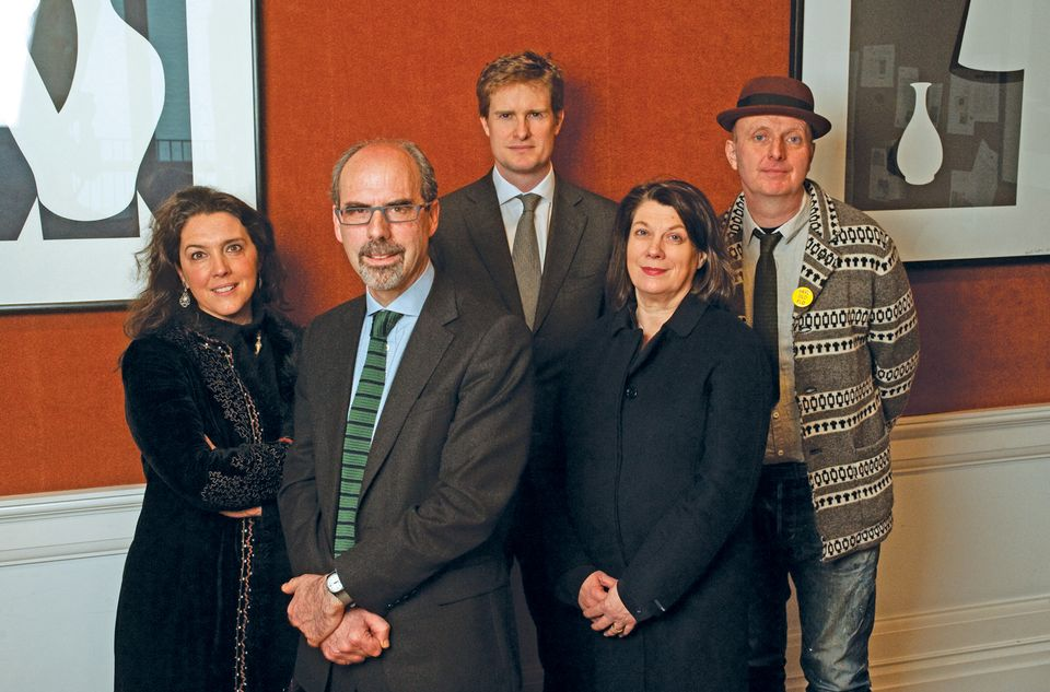 Clockwise from left: the 2013 Museum of the Year judges (Bettany Hughes, Stephen Deuchar, Tristram Hunt, Sarah Crompton and the artist Bob and Roberta Smith)