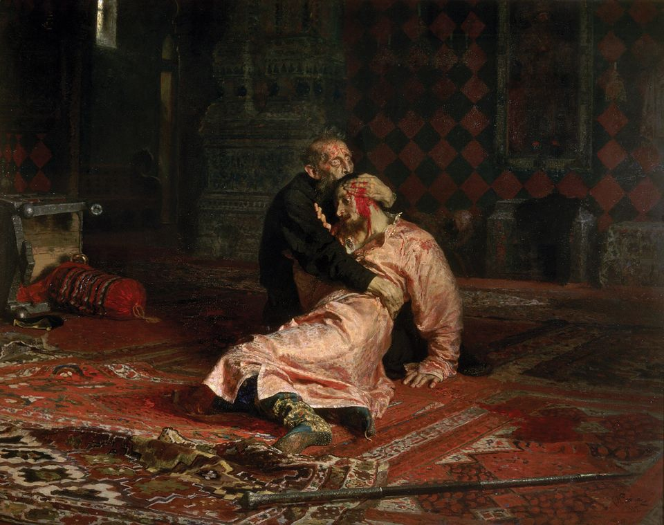 Repin's Ivan the Terrible and His Son Ivan (1885)