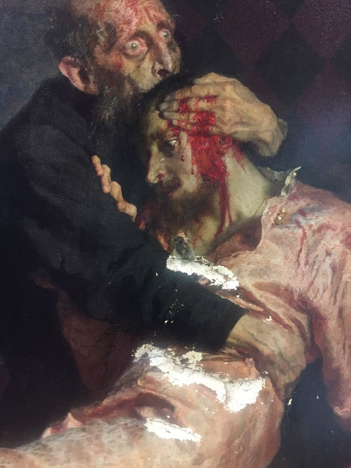 A detail of damage sustained by Repin's Ivan the Terrible and His Son Ivan (1885)