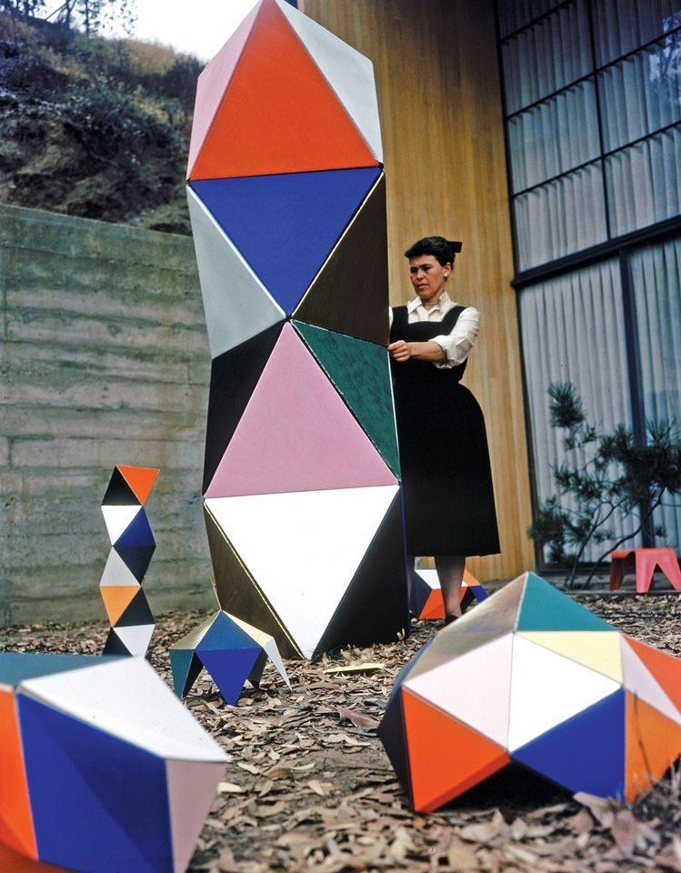 Ray Eames with the first prototype of The Toy (1950)