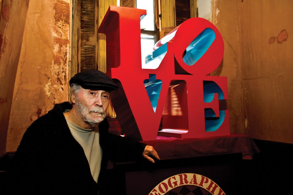 Loving it: Robert Indiana with a version  of his most famous work
