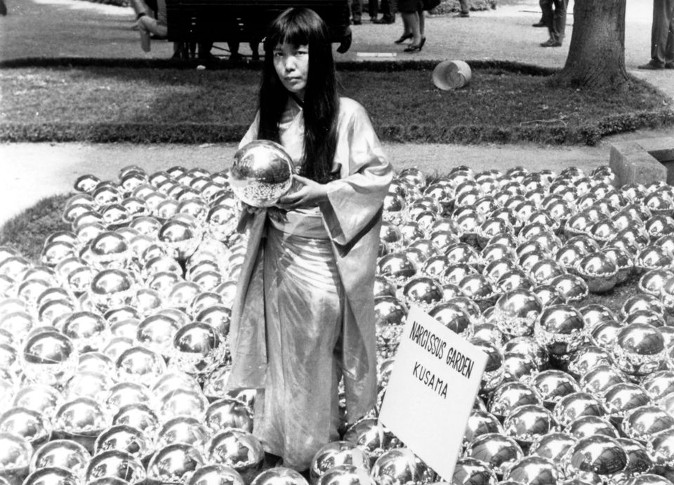 Yayoi Kusama with Narcissus Garden (1966) installed in Venice Biennale, Italy