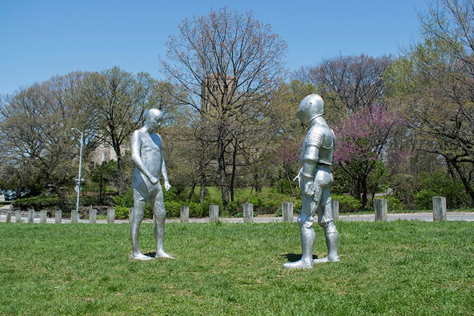 Steinunn Thorarinsdottir's ARMORS works installed on the Cloisters Lawn