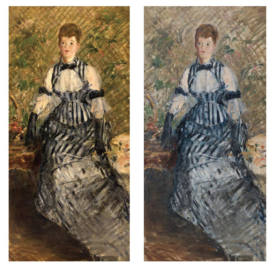 Édouard Manet, Woman in Striped Dress, before and after treatment, (1877-80)