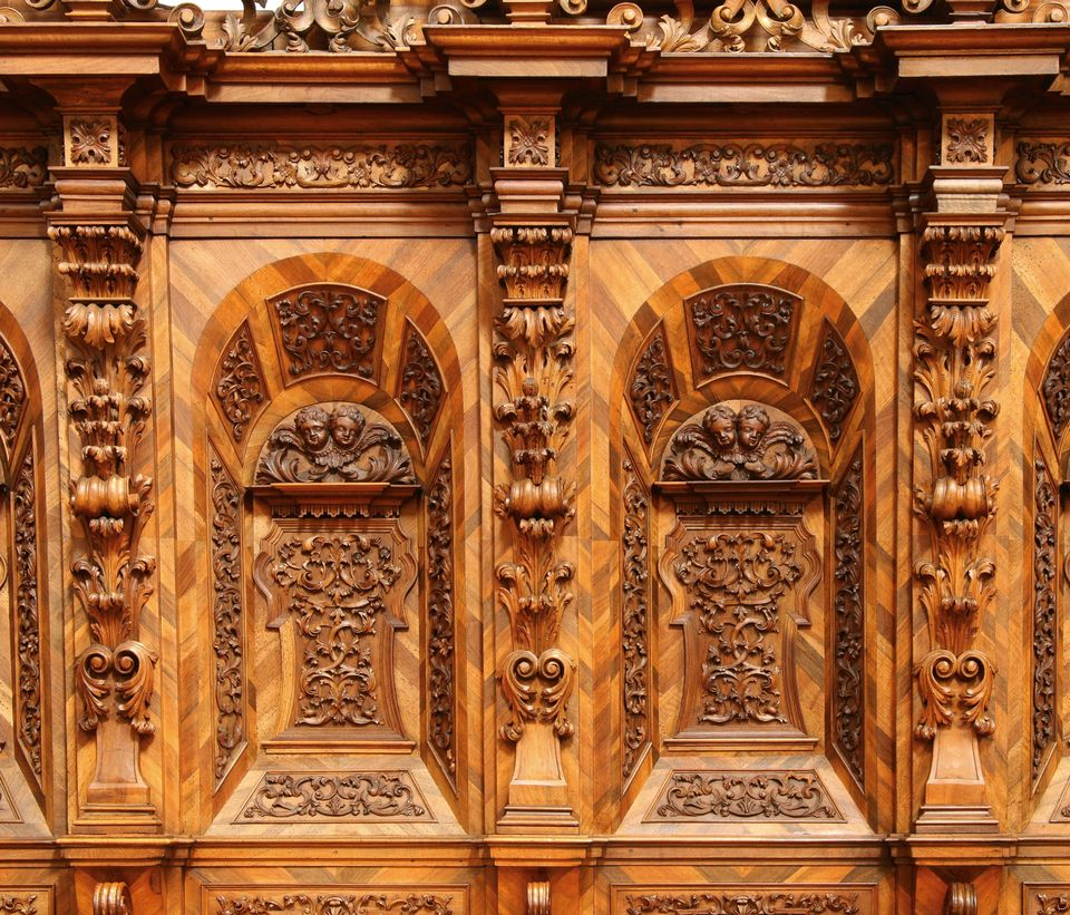Detail of the carved and walnut-veneered choir stalls of the Premonstratensian church at Schlägl, Upper Austria, by Hans Georg Stempl (1732), a cabinet-maker in Rohrbach and, after his death, by his widow, to 1736