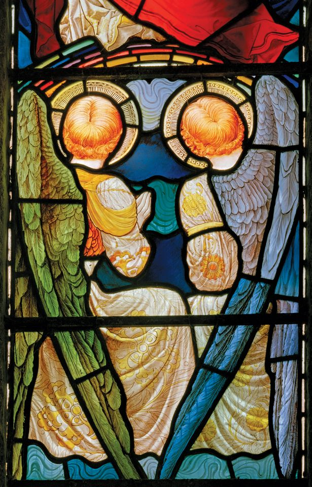 Typically fine: detail from Te Deum window, St Mary and All Saints, Plymstock, Devon, by J.W. Brown for Fouracre & Watson (around 1888)