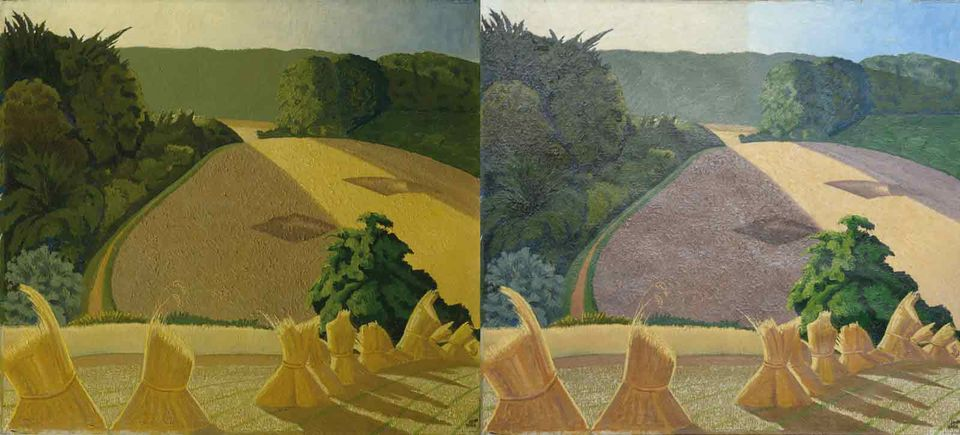 Paul Nash's The Cornfield (1918) before (left) and after treatment