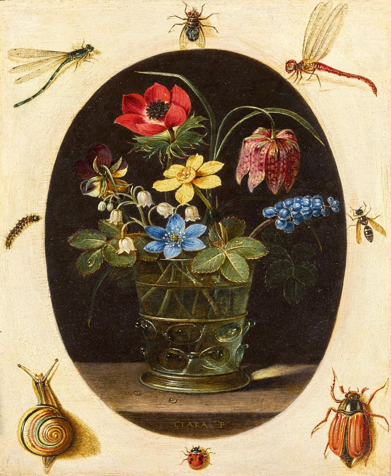 Still life with flowers in a glass vase surrounded by insects and a snail by Clara Peeters, was bought by David Koetser for the National Gallery of Art, Washington  for £520,000 (£634,000 with fees)