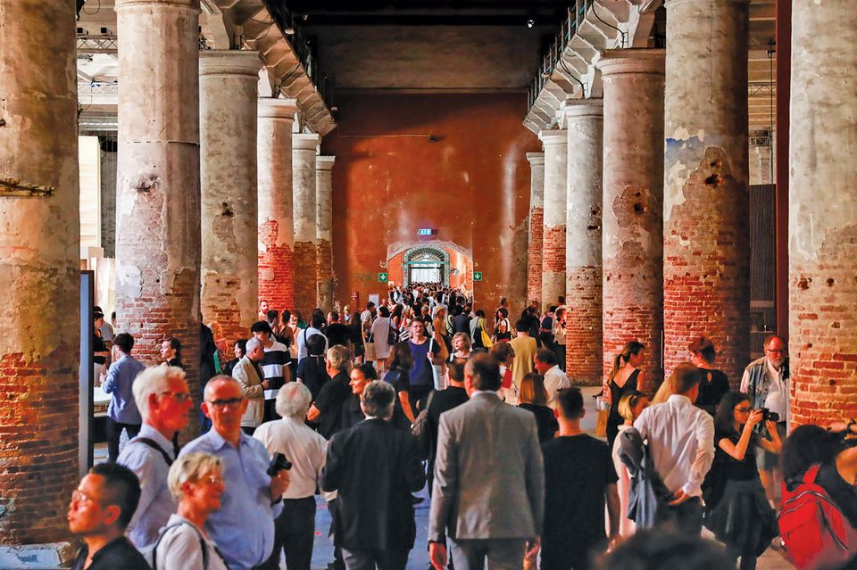 Crowds gather in the Arsenale for the Venice Architecture Biennale this year