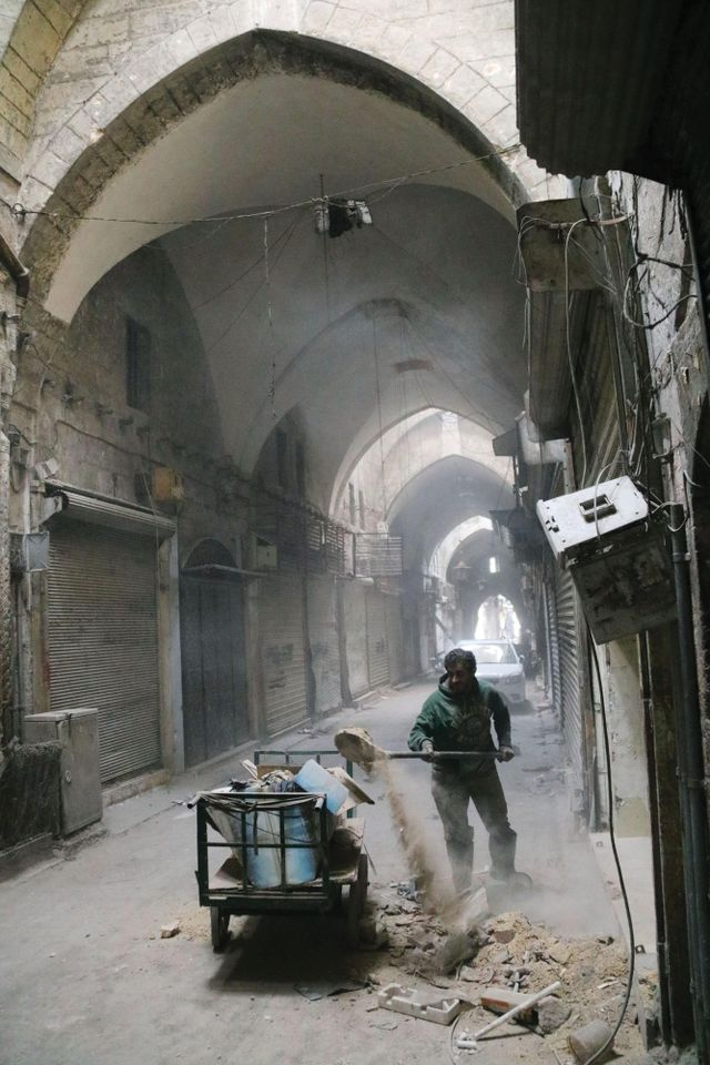 Aleppo's once-vibrant souk, being cleared of debris in February 2017, around two months after Syrian government forces retook the city from rebels