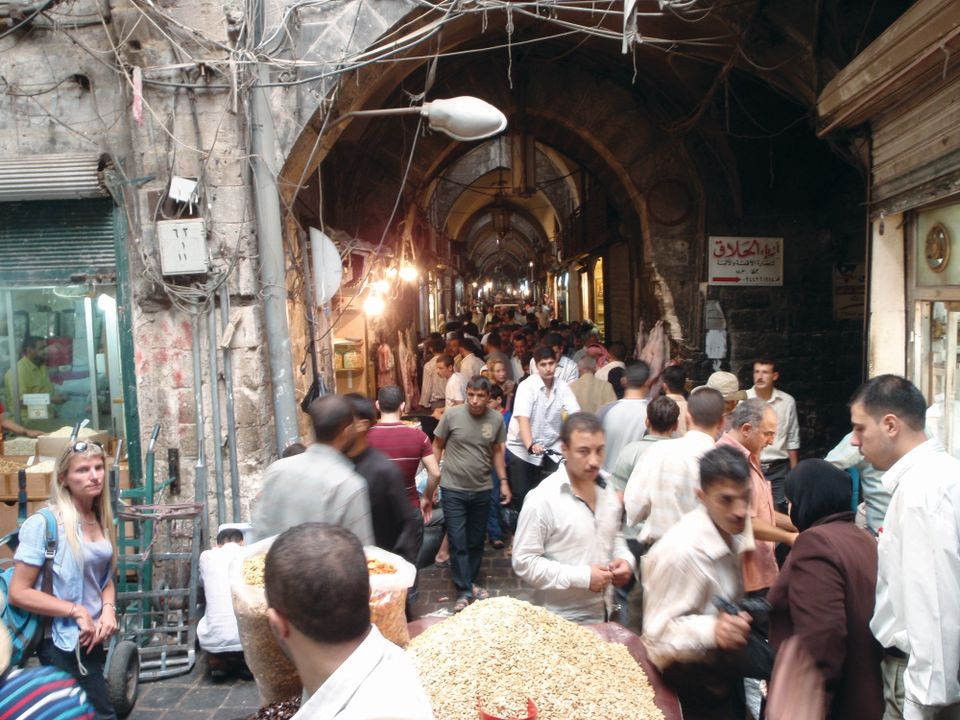 The souk, teeming with people, in 2010