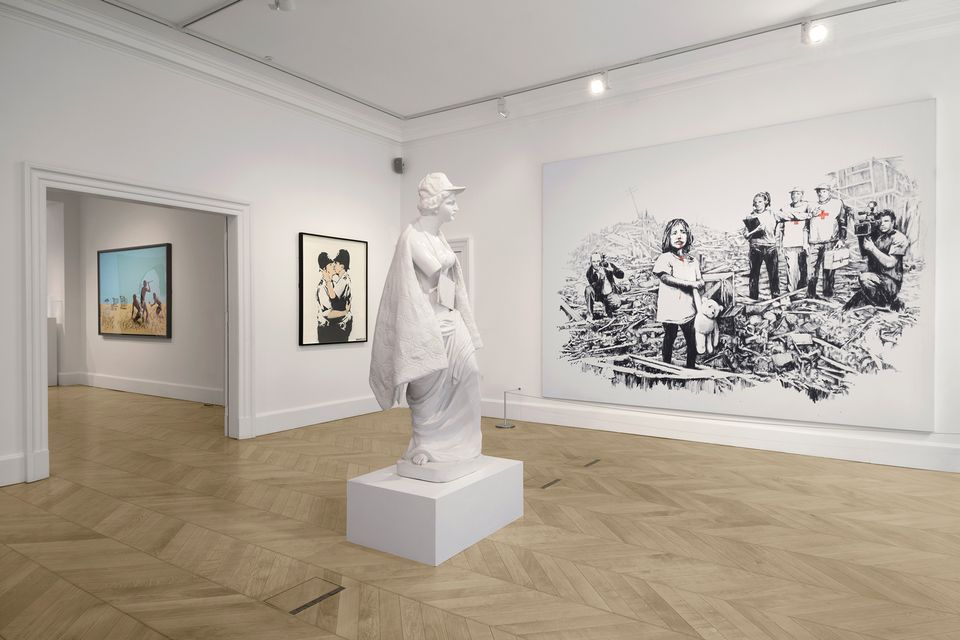Installation view of Banksy, Greatest Hits: 2002-08 at Lazinc gallery in London