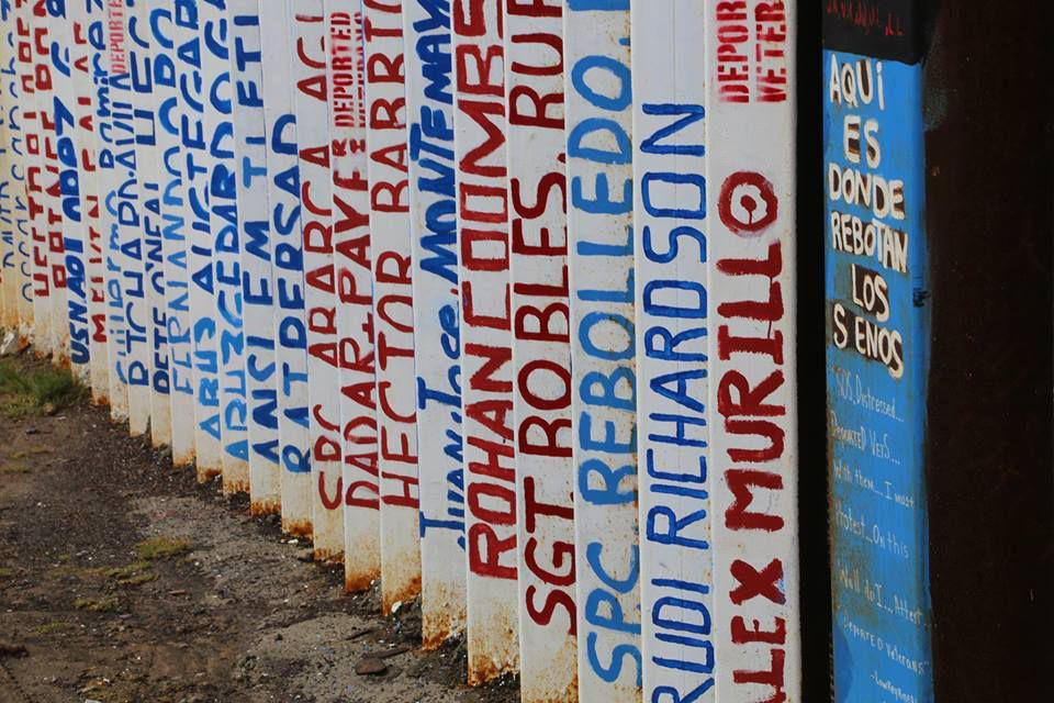 The names of dozens of veterans are also painted on the border fence
