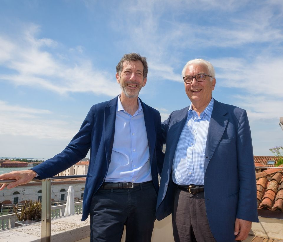 Ralph Rugoff (left), the artistic director of the 2019 Venice Biennale, with the institution's president, Paolo Baratta