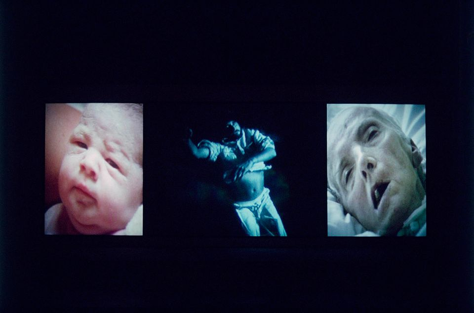 "Bill Viola's Nantes Triptych (1992) includes images of a woman giving birth and the artist's mother on her deathbed. ""It is the awareness of our own mortality that defines the nature of human beings,"" Viola has said"