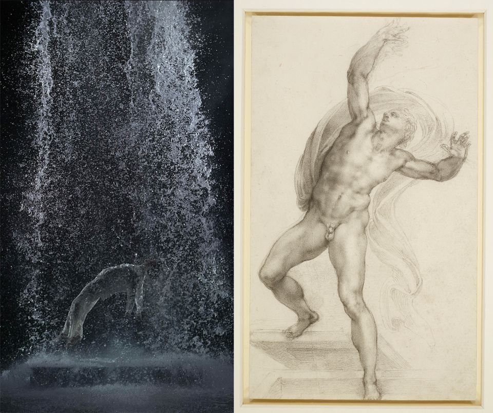 Bill Viola, Tristan's Ascension (The Sound of a Mountain Under a Waterfall), 2005 Video/sound installation   and Michelangelo Buonarroti, The Risen Christ, c. 1532-3 Black chalk on paper, 37.2 x 22.1 cm