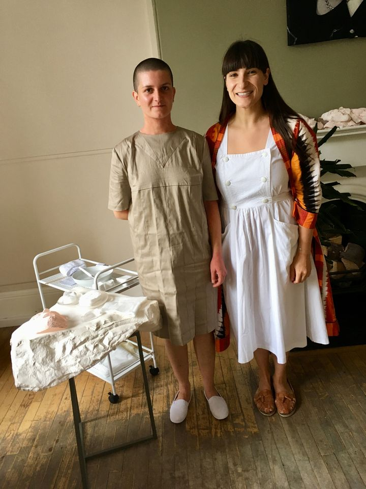Artist Taus Makhacheva (right) and performer-beautician Helen at the Blackburne House spa