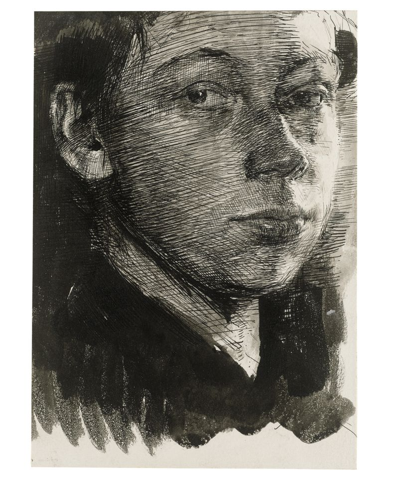 Käthe Kollwitz, Self-Portrait turned half right (around 1890). An early drawing when the artist was emerging from the student; enquiring, confident and diffident, curious and charming. Talent so evident