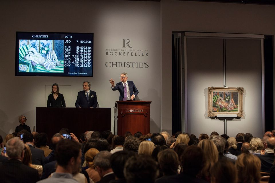 The auction of Peggy and David Rockefeller's collection in New York in May contributed £614m to the first half of 2018