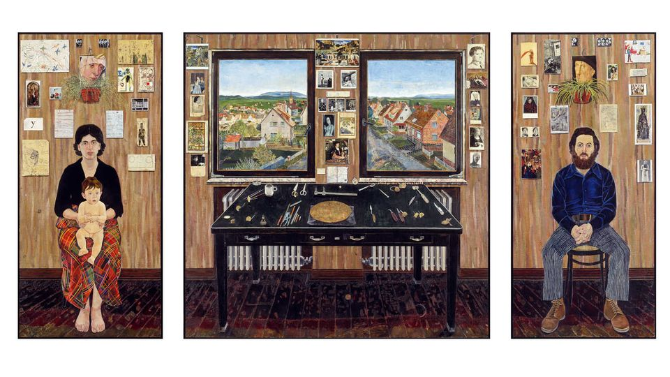 "Simon Dinnerstein, The Fulbright Triptych, 1971‐74, oil on wood panels, 79 ½"" x 168"" framed and separated."