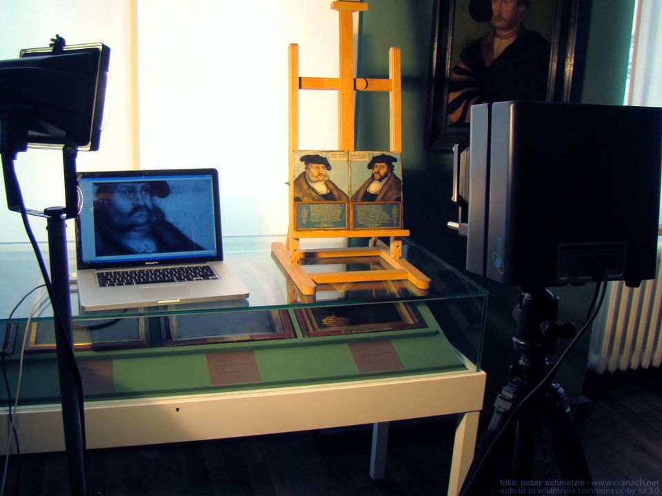 An infrared reflectography examination of Lucas Cranach the Elder's paintings of Prince Frederick the Wise at the Museum of the Palatinate, Heidelberg, in Germany in 2011