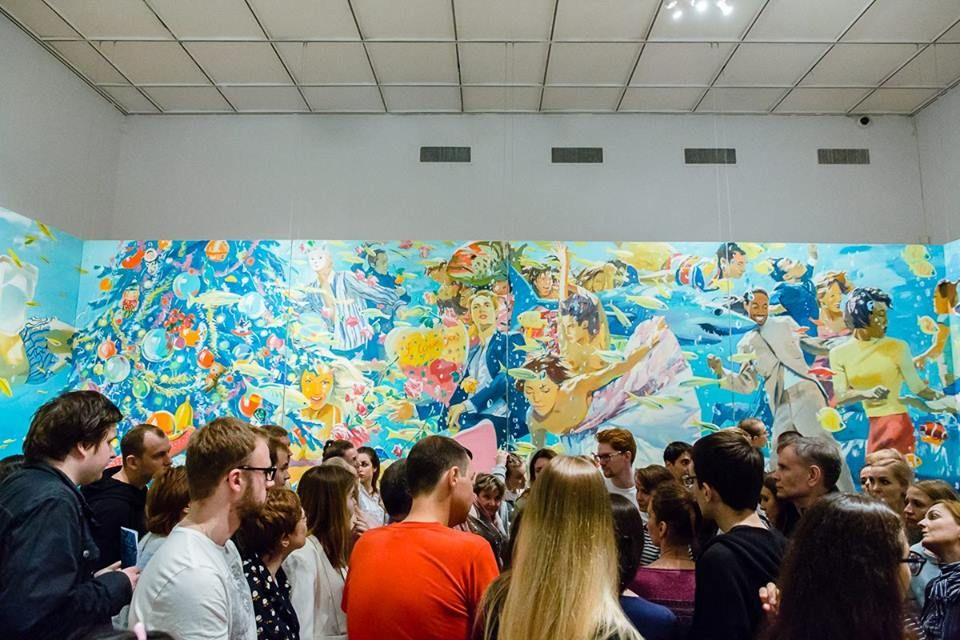 Visitors to the State Tretyakov Gallery in Moscow