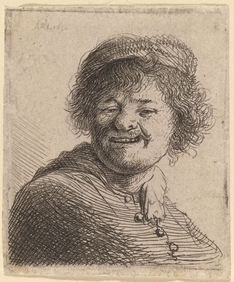 Rembrandt van Rijn Self-Portrait in a Cap: Laughing, 1630 etching sheet (trimmed to plate mark): 5.3 x 4.4 cm (2 1/16 x 1 3/4 in.)
