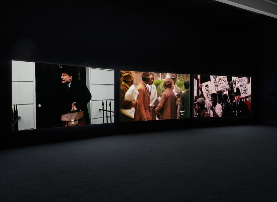 """The Unfinished Conversation, 2012. Installation view: """"John Akomfrah: Signs of Empire,"""" New Museum, New York, 2018."""