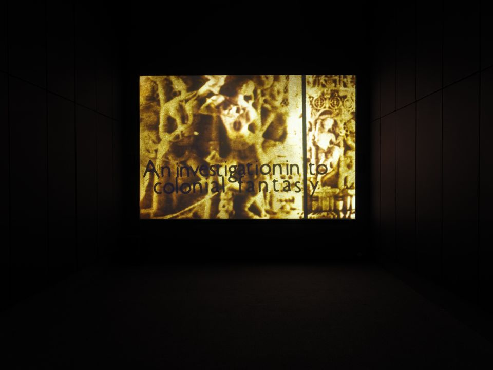 """Expeditions One: Signs of Empire, 1983. Installation view: """"John Akomfrah: Signs of Empire,"""" New Museum, New York, 2018."""
