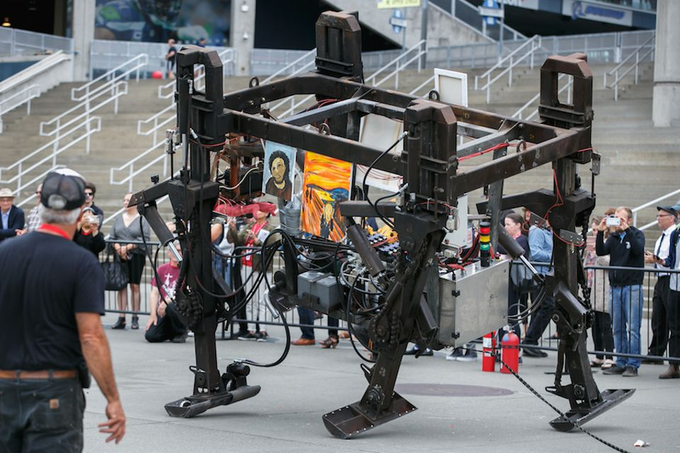 One of Mark Pauline's robots stomping through the CenturyLink Field plaza