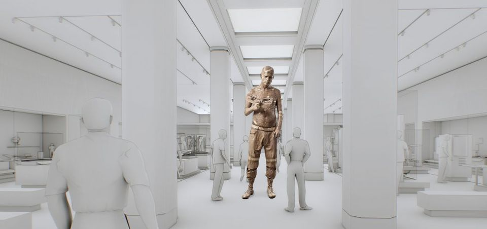 A rendering of Marc Quinn's Self-Conscious Gene sculpture at the Science Museum