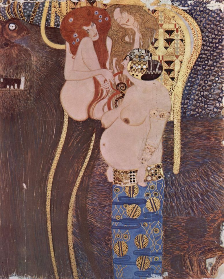 A section from Gustav Klimt's Beethoven Frieze (1902)