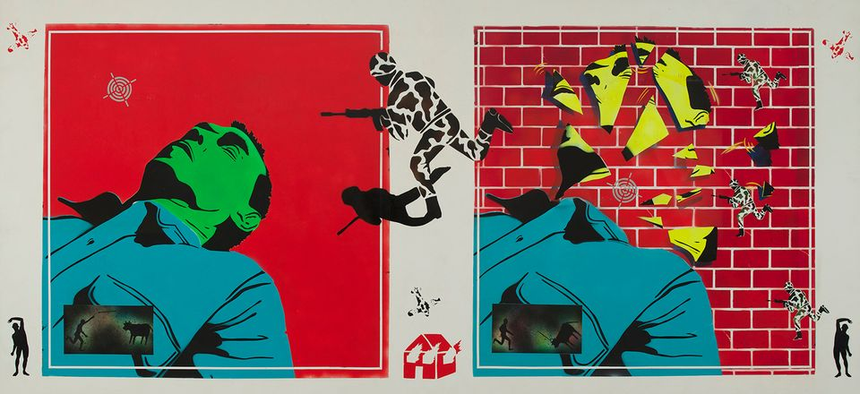 David Wojnarowicz (1954-1992), Untitled (Green Head), 1982. Acrylic on composition board, 48 × 96 in. (121.9 × 243.8 cm).