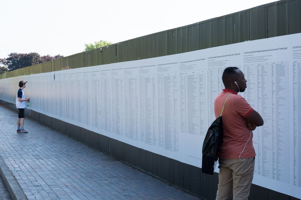 The biennial organisers are presenting The List in collaboration with the Turkish artist Banu Cennetoglu who has translated and widely distributed the list of names of refugees who have died, which is compiled and updated each year by United for Intercultural Action, a network of 550 organisations in 48 countries.