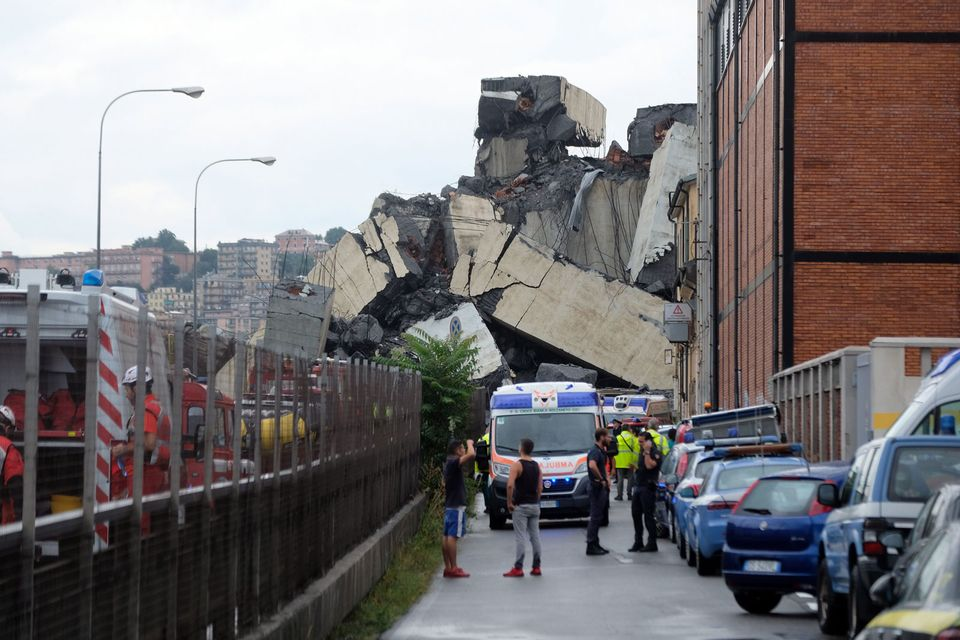 A section of the giant motorway bridge that collapsed in Genoa injuring several people
