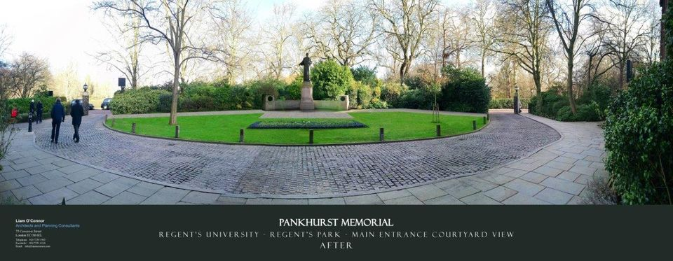 A rendering of how the original 1930 sculpture of Pankhurst will look in the main courtyard of Regent's University
