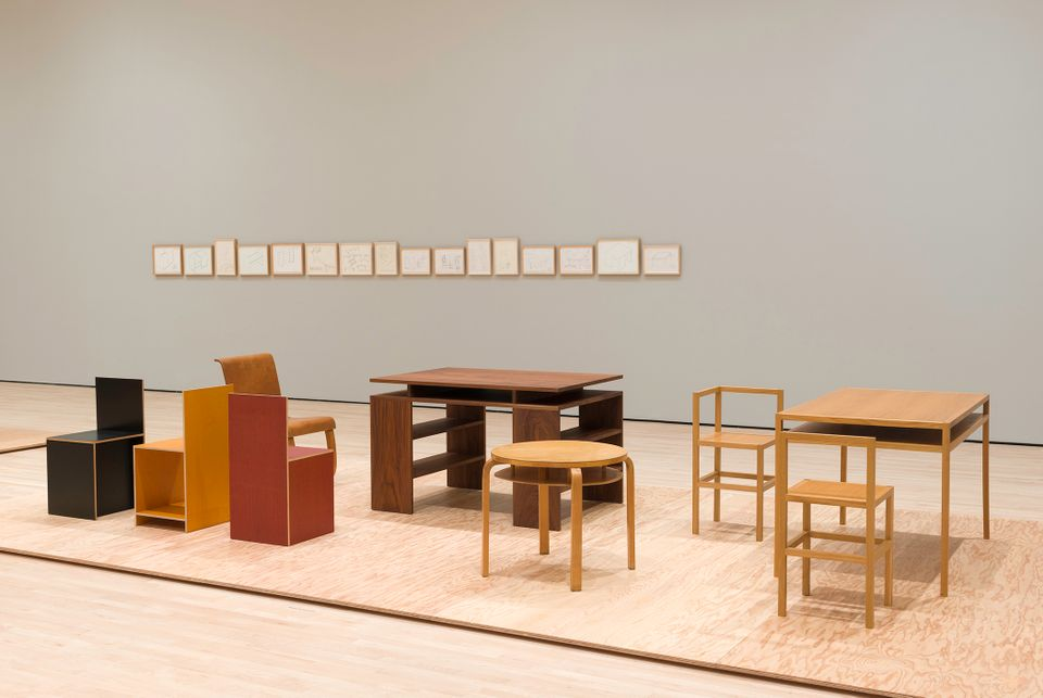 An installation view of Donald Judd: Specific Furniture at the  San Francisco Museum of Modern Art.