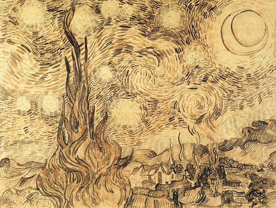 Van Gogh, Starry Night (drawing), June 1889, Bremen Kunsthalle, now in Moscow