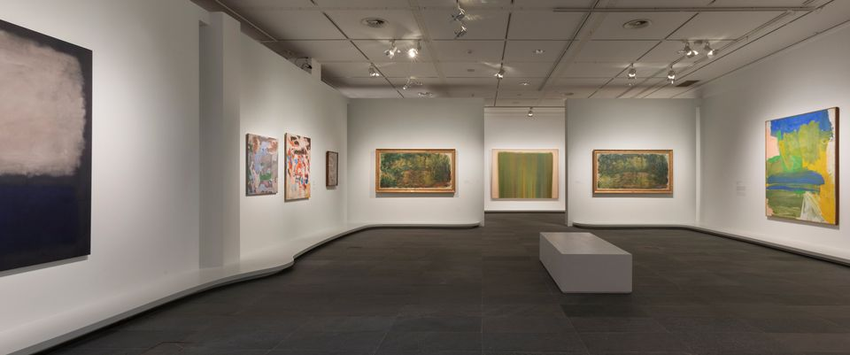 Installation view of The Water Lilies: American Abstract Painting and the last Monet exhibition at the Musée de l'Orangerie in Paris
