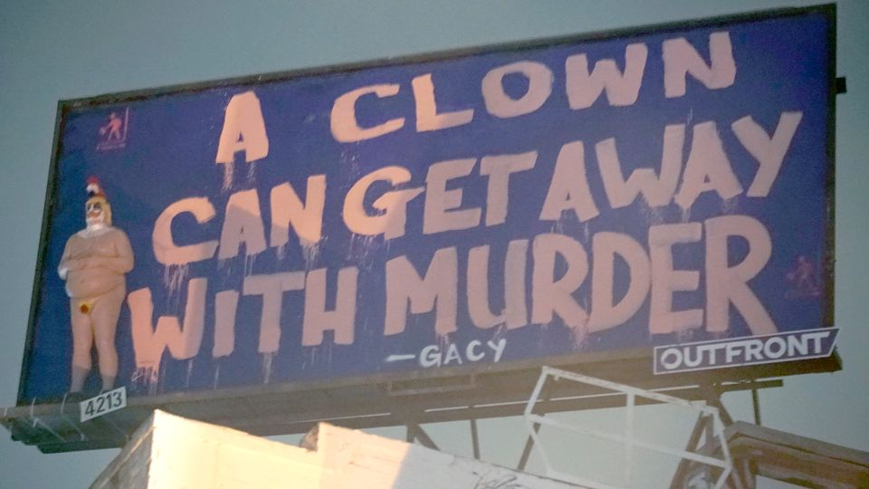 Video still from the installation of A Clown Can Get Away with Murder (2018) by Indecline