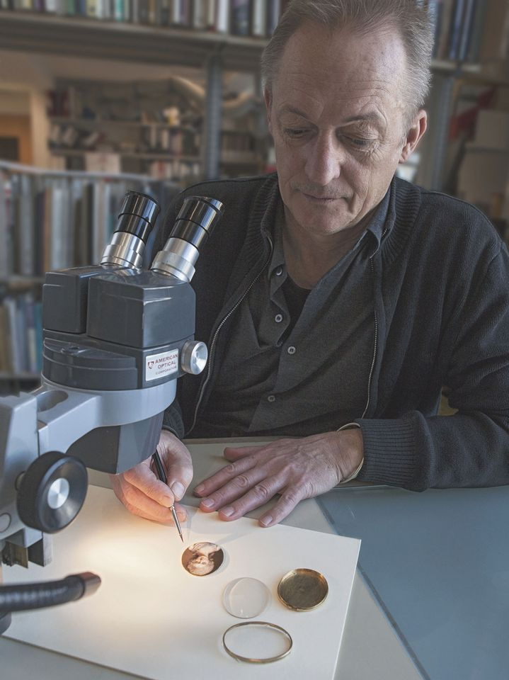 The Plowden Medal-winning portrait miniatures expert Alan Derbyshire analyses a work in the V&A's conservation department