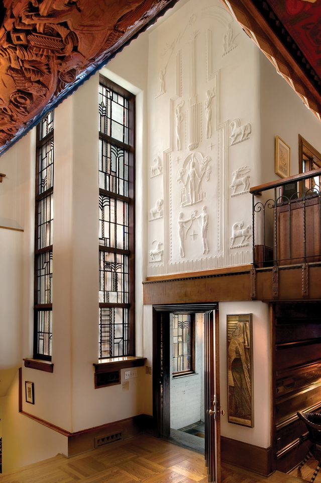The Glasner Studio (1928-32) includes glass window designs, concrete bas-reliefs and wood carvings by Miller