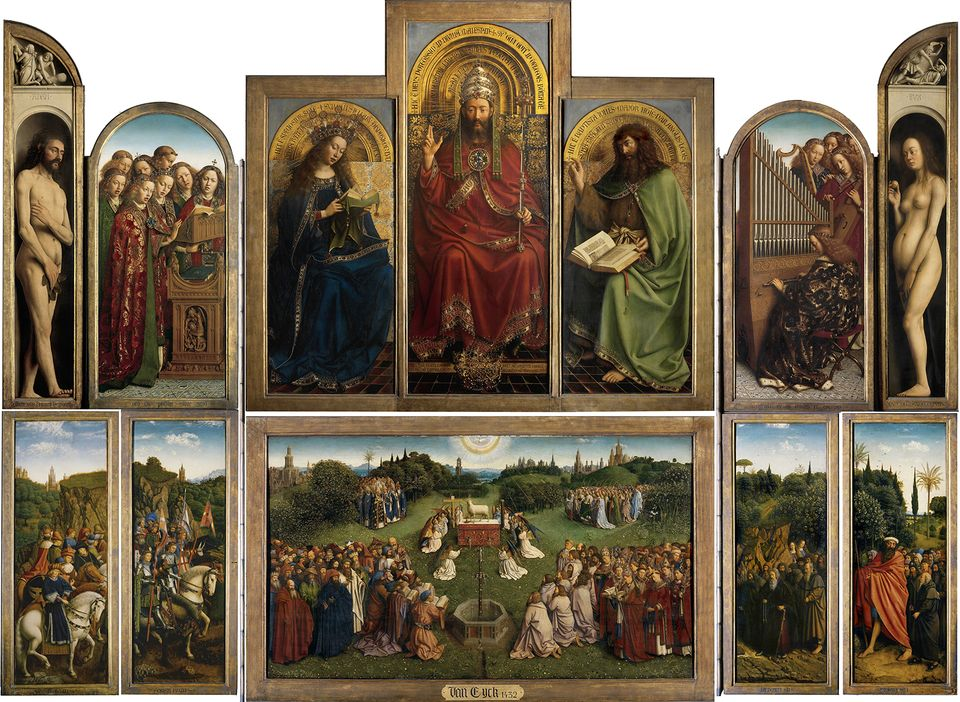 The Ghent Altarpiece, also called Adoration of the Mystic Lamb, by Jan van Eyck