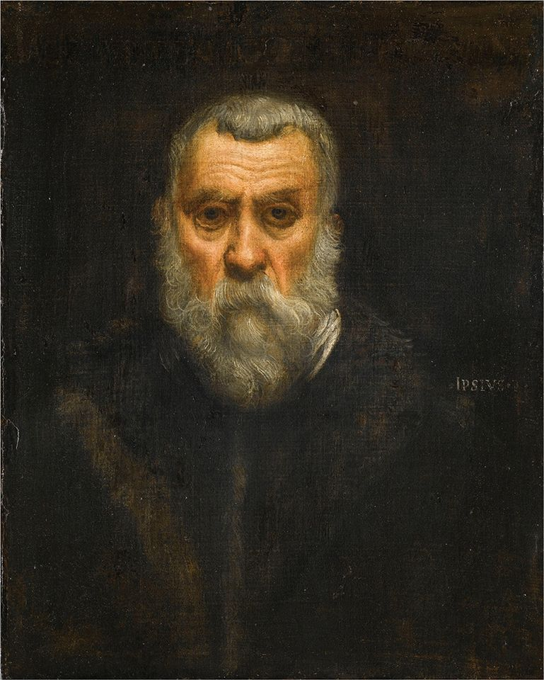 Tintoretto's Self-Portrait (around 1588) is on laon from the Musée du Louvre