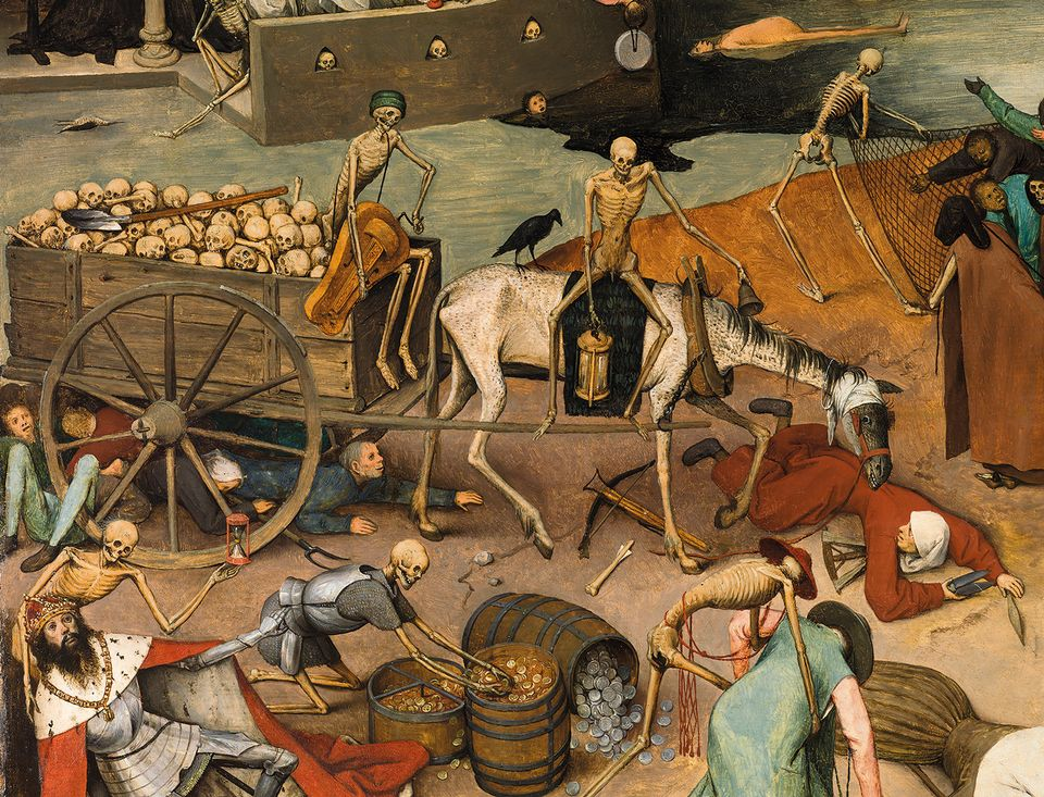 Lost details in The Triumph of Death  (1562-63; detail) were reinstated by using copies of the work made by Bruegel's sons