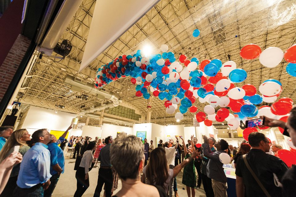 Balloons falling at Expo Chicago—as is the number of local galleries at the fair