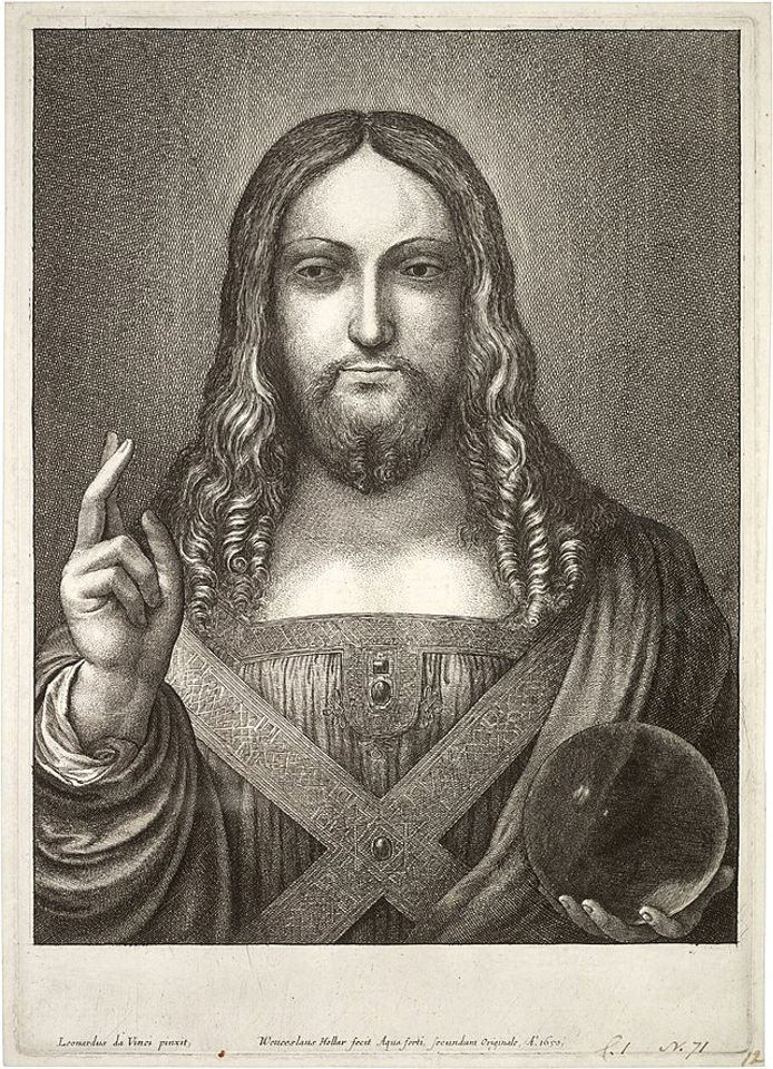 "Wenceslaus Hollar claimed to have etched the Salvator Mundi ""from the original"" while he was in exile in Antwerp"